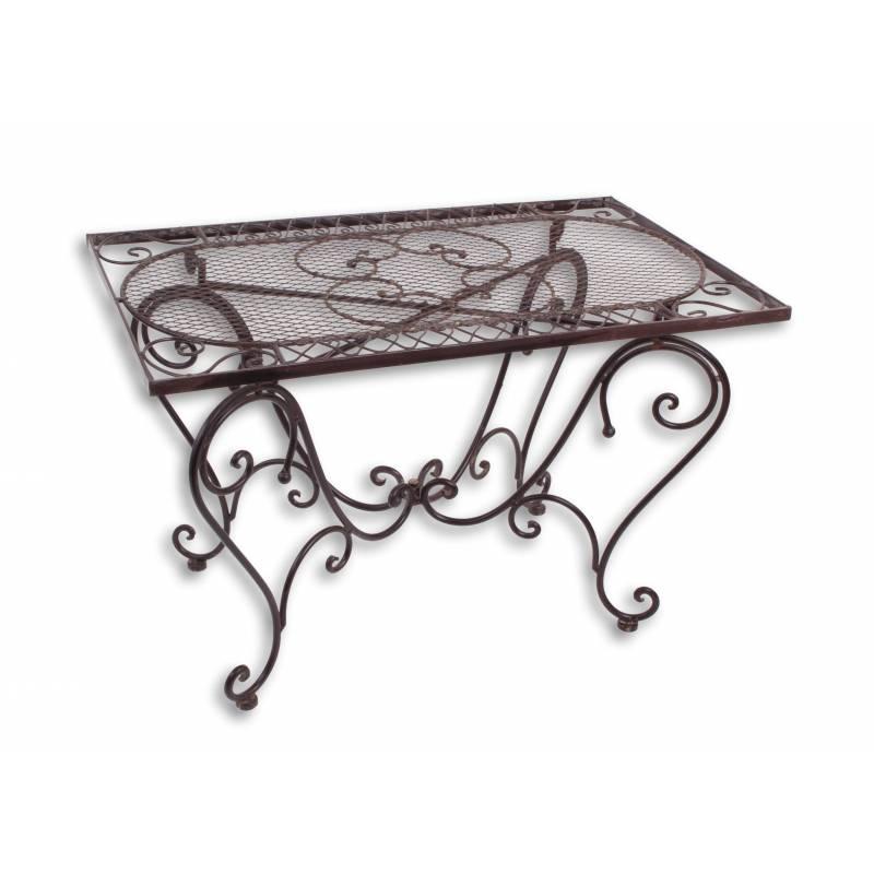 Table Basse Rectangulaire Fer Couleur Marron Console Desserte