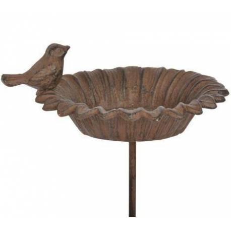 Bain à Oiseaux Abreuvoir Mangeoire Perchoir sur Pique Forme Feuille avec Oiseau en Fonte Patiné Marron 13.5x13.5x77cm