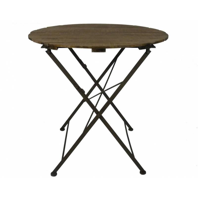 Table Ronde Desserte Pliable Console d\'Appoint Intérieur Extérieur Guéridon  en Bois et Fer 90x90x80cm