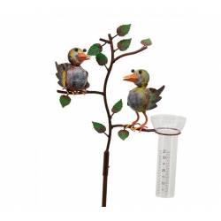 Superbe Pluviomètre à Piquer Tuteur Plante Décoration de Jardin Motif Oiseaux en Fer Patiné et Tube en Verre 15x29x132cm