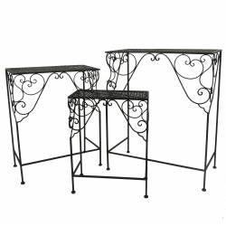 Petit Guéridon Table d'Appoint Console Gigogne Sellette Bout de Canapé Rectangle en Fer Noir 21x39x51cm