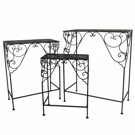 Guéridon Moyen Table d'Appoint Console Gigogne Sellette Bout de Canapé Rectangle en Fer Noir 26x49x61cm