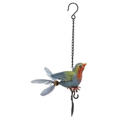 Superbe Mobile Oiseau à Accrocher Crochet à Suspendre Décoratif en Métal Patiné Multicolore 15x16x38cm