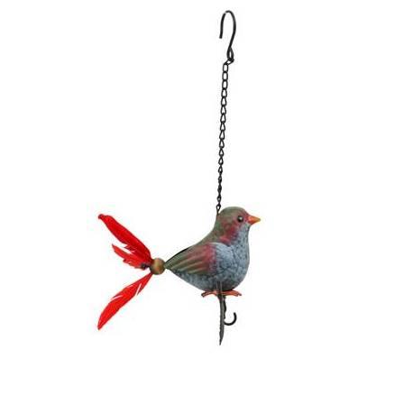 Superbe Mobile Oiseau à Accrocher Crochet à Suspendre Décoratif en Métal Patiné Plumes Rouges 15x16x38cm