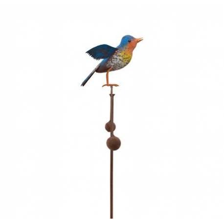 Tuteur Tige à Plantes Motif Oiseau ou Mobile de Jardin Rotatif à Planter en Fer Patiné Multicolore 11,5x35,5x113cm