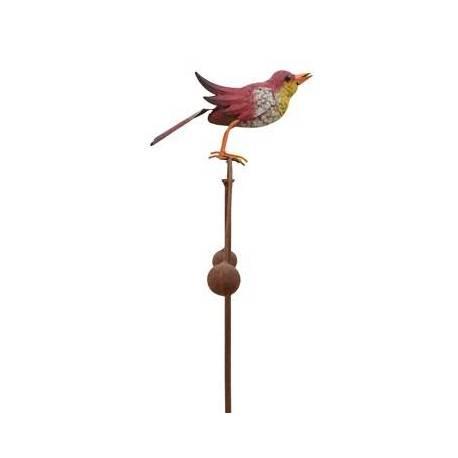 Tuteur Tige pour Plantes Motif Oiseau ou Mobile de Jardin Rotatif à Planter en Fer Patiné Multicolore 11,5x35,5x113cm