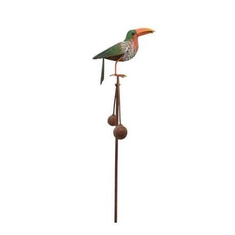 Tuteur Tige pour Plantes Motif Toucan ou Mobile de Jardin Rotatif à Piquer en Fer Patiné Multicolore 11,5x35,5x113cm