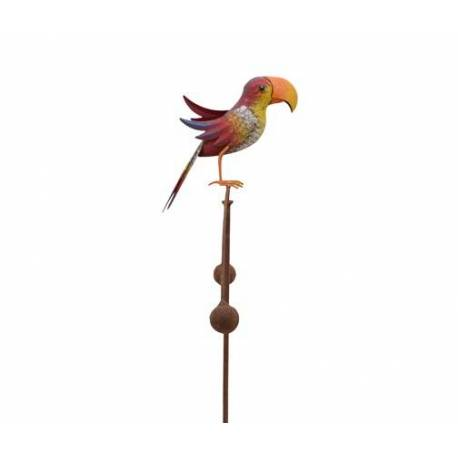 Tuteur Tige pour Plantes Motifs Perroquet ou Mobile de Jardin Rotatif à Planter en Fer Patiné Multicolore 11,5x35,5x113cm