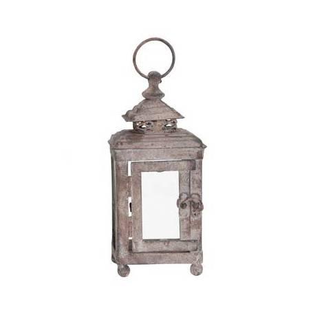 Séduisante Lanterne Rectangulaire ou Bougeoir de Jardin Intérieur Extérieur en Fer Gris Antique 9x9x23cm