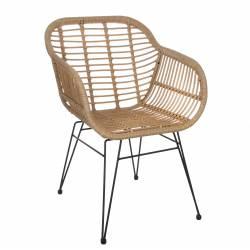 Fauteuil Carré de Jardin Extérieur Intérieur Siège de Salon Façon Chaise en Rotin en Acier et Plastique 56x65x82cm