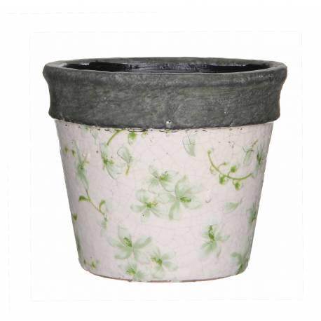 Cache Pot ou Jardinière Motifs Fleurs Vertes Façon Poterie Ancienne en Terre Cuite Ton Pierre 10,5x10,5x11,5cm