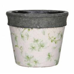 Cache Pot ou Jardinière Motifs Fleurs Vertes Façon Poterie Ancienne en Terre Cuite Ton Pierre 13,5x14,5cm