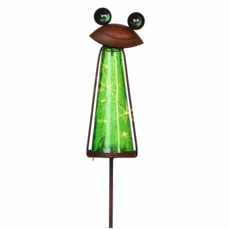 Grand Tuteur Solaire Pic de Jardin Lumineux Tige Motif Grenouille en Fer Patiné et Boule en Verre Craquelé Vert 9,5x12x183cm