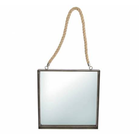 Miroir Mural Glace Carrée Vintage en Acier Verni Noir avec Anse en Corde 4x38x79cm