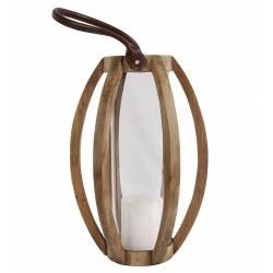 Lanterne Décorative cylindrique Lampion Anse en Cuir Bougeoir à Suspendre ou à Poser en Bois Naturel et Globe en Verre28x28x60cm