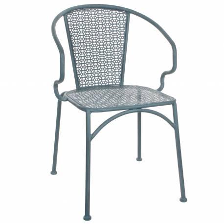 Chaise de Salon de Jardin Siège de Salon Intérieur Extérieur Fauteuil en  Métal Patiné Bleu 54x55x80cm