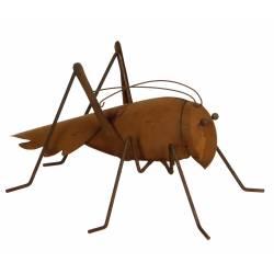Cricket à Poser en Extérieur ou Intérieur Décoration Insecte Géant de Jardin Animal en Métal Oxydé 15x19x25cm