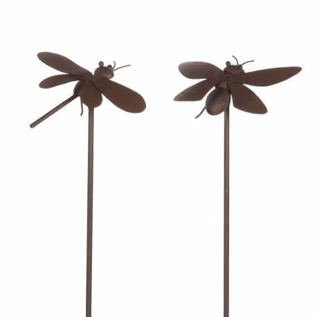 Lot de 2 Insectes à Piquer Décoration de Jardin Tuteur Abeille et Libellule  Décoratives en Fer Patiné Marron 18x20x93cm