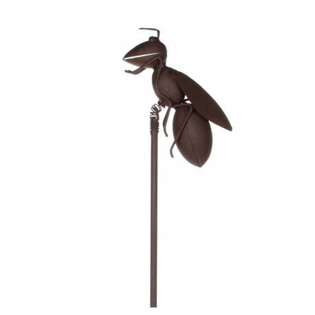 Insecte à Piquer Décoration de Jardin Tuteur Fourmi Volante Décorative en Fer Patiné Marron 6x15x95cm