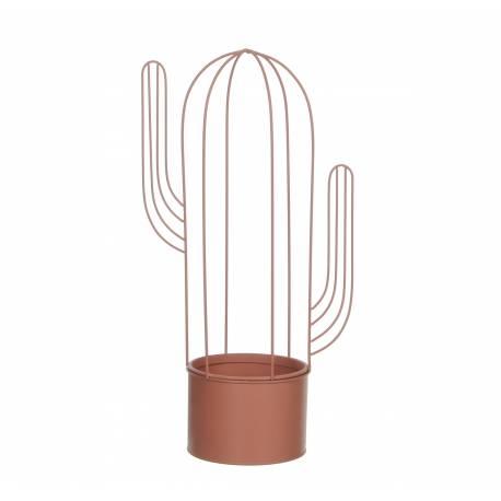 Jardinière Cache Pot de Fleur Buis Topiaire Intérieur Extérieur Forme Cactus en Fer Patiné Rose Saumont 44x22,5x14cm