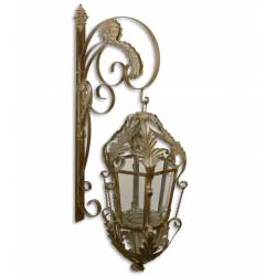 Grande Lanterne Applique Murale Extérieur ou Intérieur Luminaire avec Crédence en Verre et Métal Marron 29x47x97cm