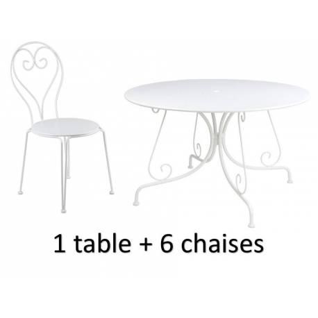 Salon de Jardin pour 6 Personnes Grande Table de Repas et 6 Chaises ...