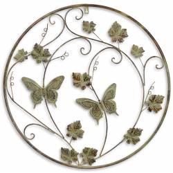 Grande Applique Murale Ronde Fronton Motif Nature et Papillons Arbre de Vie Décoratif à Fixer en Métal Patiné Vert 1x64x64cm