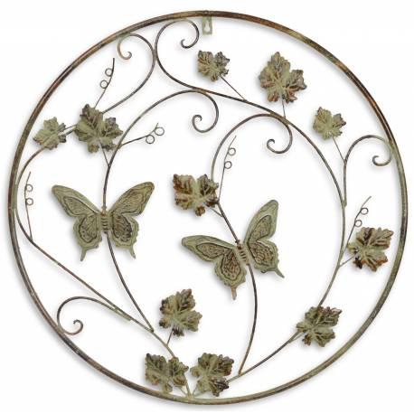 Grande Applique Murale Ronde Fronton Motif Nature Et Papillons Arbre