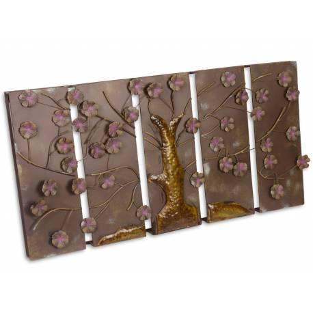 Grand tableau aux motifs arbre branches et feuilles - Tableau deco en metal ...