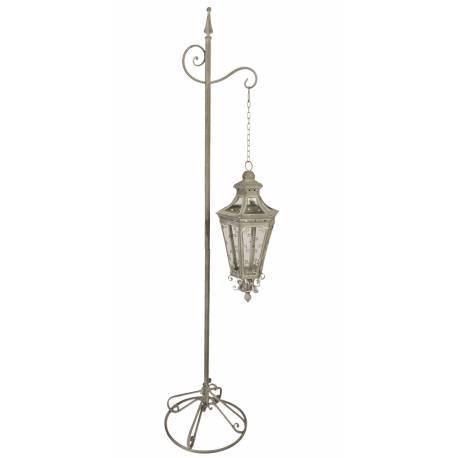 Grande Lanterne Hexagonale Sur Pied Lampadaire Porte Bougie avec Chaîne  Luminaire Intérieur Extérieur en Fer Gris 37x37x175cm