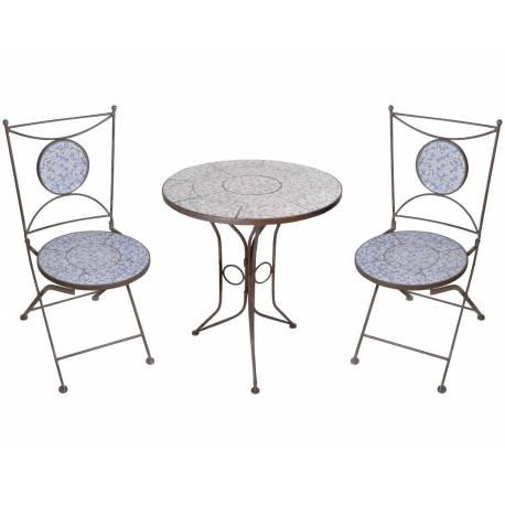Salon de Jardin avec Sublime Mosaïque Antique Table de Bistrot et 2 Chaises  Pliantes en Acier Marron et Motifs Céramique bleue