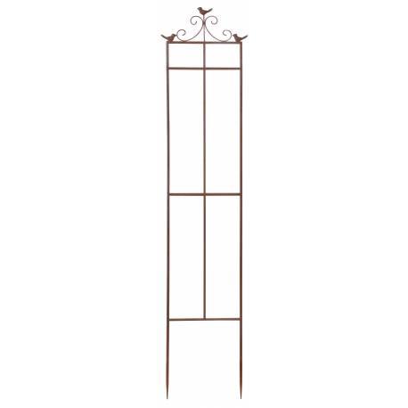 Grille aux Motifs Oiseaux Treillis pour Plantes Tuteur à Fleurs en Fer Rouillé à l'Ancienne 2,50x32x160cm