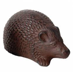 Statuette Herisson ou Animal Décoratif à Poser en Fonte Patinée Marron 6,5x7,5x13,5cm