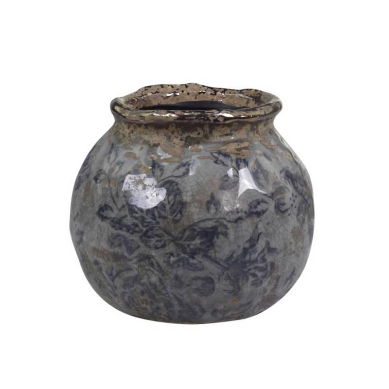 pot motifs floraux vase pot crayons broc d coratif en terre cuite emaill e dans les tons bleus. Black Bedroom Furniture Sets. Home Design Ideas