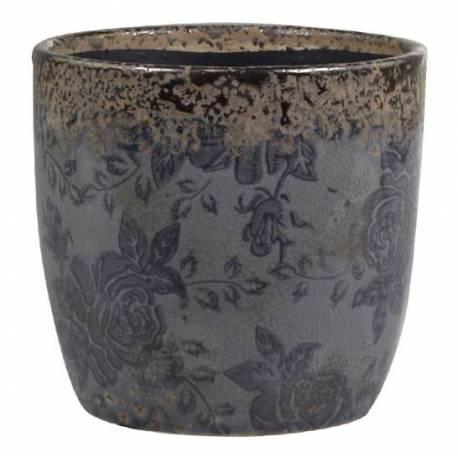 Grand Pot Motifs Floraux Vase Pot à Crayons Broc Décoratif en Terre Cuite Emaillée dans les Tons Bleus 13x13,5x13,5cm