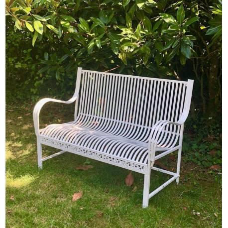 grand banc banquette assise de jardin fauteuil en fer et fonte blanc 75x98x137cm r ves de jardins. Black Bedroom Furniture Sets. Home Design Ideas