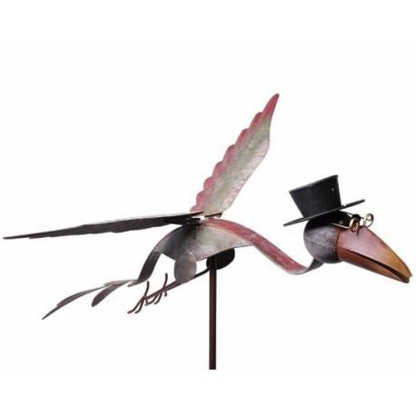 Mobile Corbeau de Jardin à Vent Tuteur sur Tige pour Plantes Armature en Fer Coloré à Planter 50x66,5x125cm