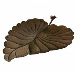 Grande Feuille Coupelle à Poser Style Bain a Oiseaux ou Mangeoire de Jardin en Fer Marron 17x43x53cm