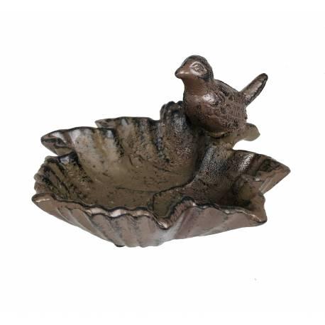 Bain à Oiseaux Mangeoire à Oiseau Vide Poche Coupe Feuille Cendrier en Fonte Patinée Marron 9x14x14cm