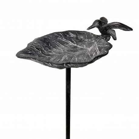 Grand Tuteur Bain d'Oiseaux ou Pic de Jardin Coupelle Façon Bénitier Motif Oiseau en Fonte Patinée Grise 13x18x100cm