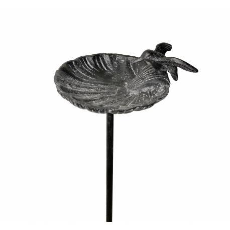 Grand Tuteur Bain d'Oiseau ou Pic de Jardin Coupelle Façon Bénitier Motif Oiseau en Fonte Patinée Grise 14x15x100cm