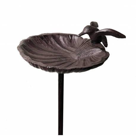 Grand Tuteur Bain d'Oiseau ou Pic de Jardin Coupelle Façon Bénitier Motif Oiseau en Fonte Patinée Marron 14x15x100cm