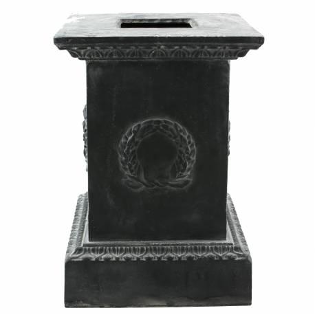 Socle Colonne Pilier pour Vasque Jardinière Décoration Extérieure Intérieure de Château en Fonte Gris 35x35x50cm