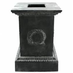 Socle Colonne Pilier pour Vasque Jardinière Décoration Extérieure Intérieure de Château en Fonte Gris 44x44x63cm