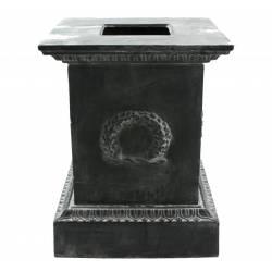 Grand Socle Colonne Pilier pour Vasque Jardinière Décoration Extérieure Intérieure de Château en Fonte Gris 63x63x87cm