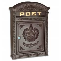 Boite aux Lettres ou Boite à Courriers Murale en Fonte d'Aluminium Marron 9,50x31,50x44,50cm