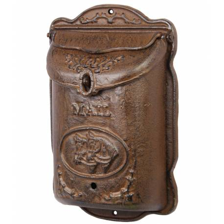 Boite aux Lettres ou Boite à Courriers Murale en Fonte Marron Motif Cheval 10,50x31,50x44,50cm