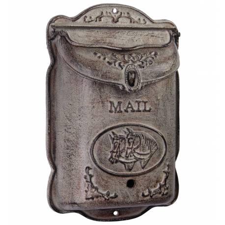 Boite aux Lettres ou Boite à Courriers Murale en Fonte Grise Motif Cheval 10,50x31,50x44,50cm