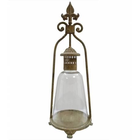 Lanterne Bougeoir à Poser ou Lampe Tempête Lampe à Huile Intérieur Extérieur en Fer et Verre Patiné Beige 18,5x18,5x46,5cm