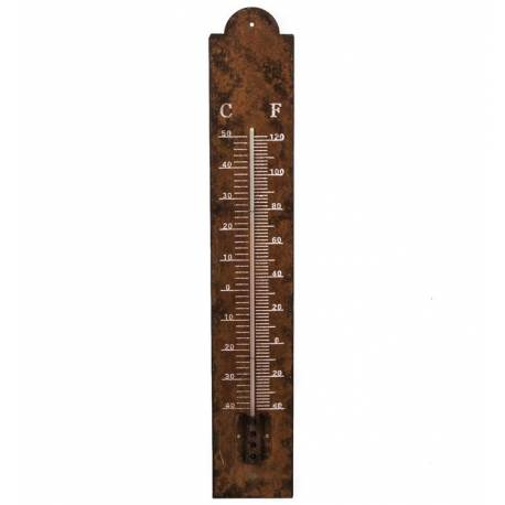 Thermomètre Mural Décoratif en Celsius et Farenheit ou à Poser en Fer Effet Rouillé 2,5x10x60cm
